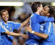 Ashley Cole, Ballack e Drogba, Chelsea-Liverpool, meia-final da Liga dos Campeões em Stamford Bridge