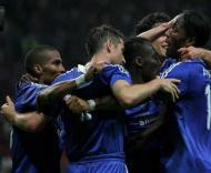 Jogadores do Chelsea festejam golo de Lampard