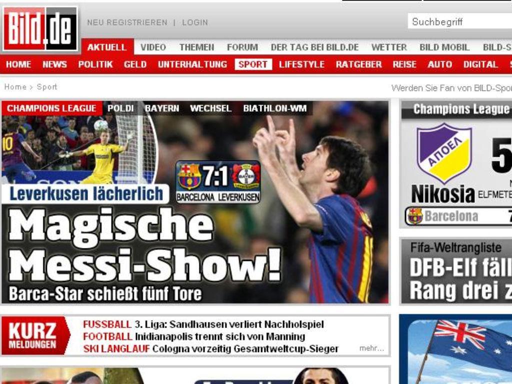 Bild (Alemanha): «Show de magia de Messi»