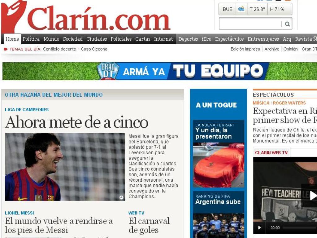 Clarín (Argentina): «Agora marca cinco»
