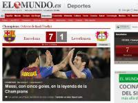 El Mundo (Espanha): «Messi, com cinco golos, na lenda da Champions»