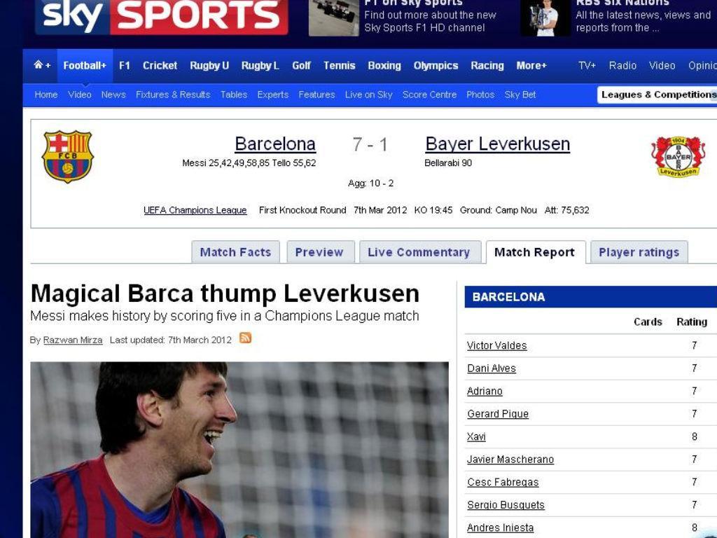 Sky Sports (Inglaterra): «Mágico Barça abate Leverkusen»