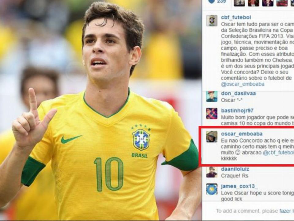 ade273ce529f8 Brasil-Itália  Oscar deve assumir posição 10 (Vídeo)