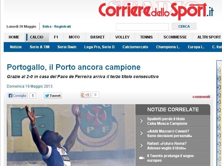 FC Porto tricampeão: Corriere dello Sport