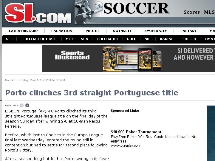 FC Porto tricampeão: Sports Illustrated