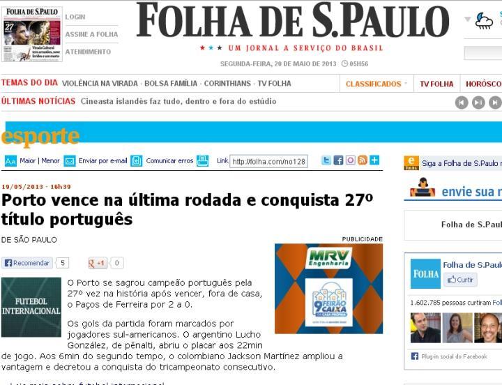 FC Porto tricampeão: Folha São Paulo