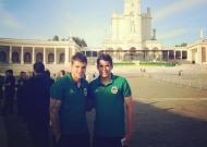 Jogadores do Rio Ave em Fátima antes da final da Taça da Liga