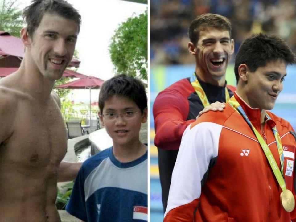 Há oito anos Schooling tirava fotos com o ídolo Phelps, agora rouba-lhe o ouro