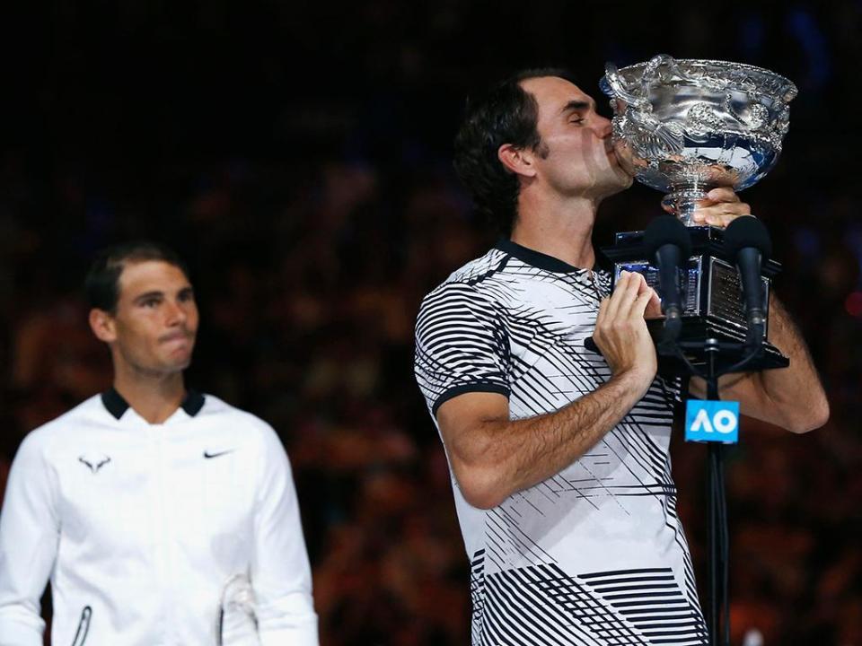 Roger Federer na final do Masters 1000 de Miami frente a Rafael Nadal
