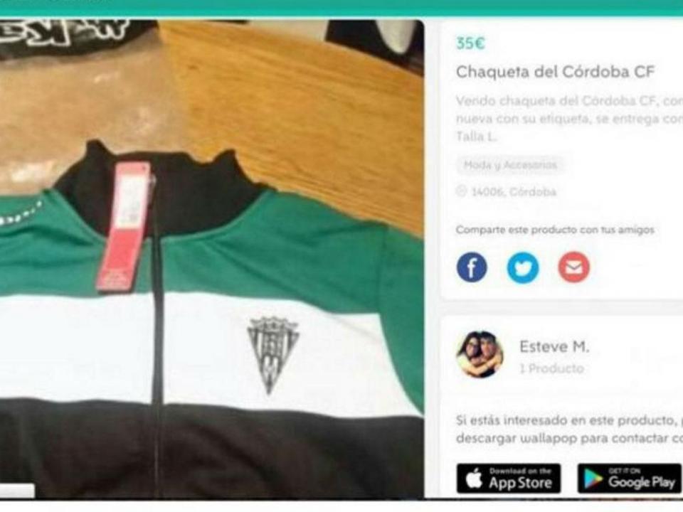 Jogador do Córdoba põe casaco do clube à venda na internet