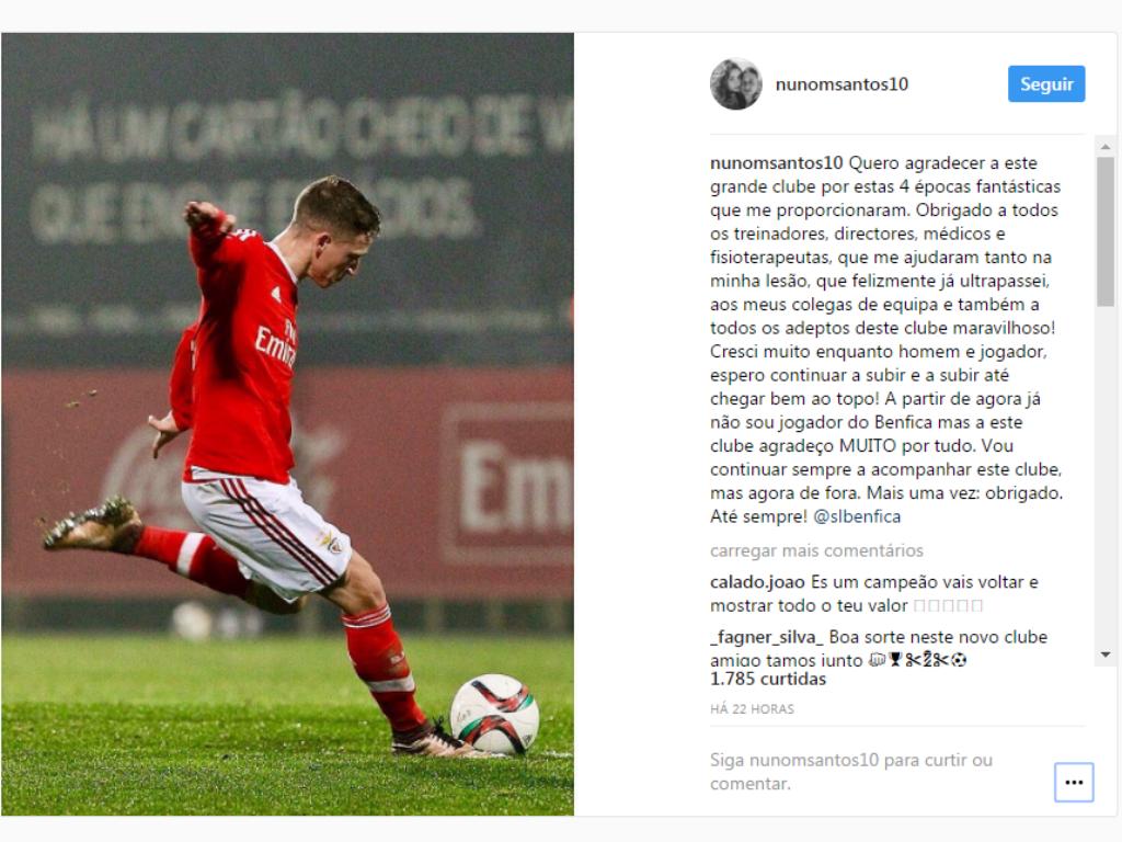 Nuno Santos despede-se do Benfica: «Obrigado e até sempre»