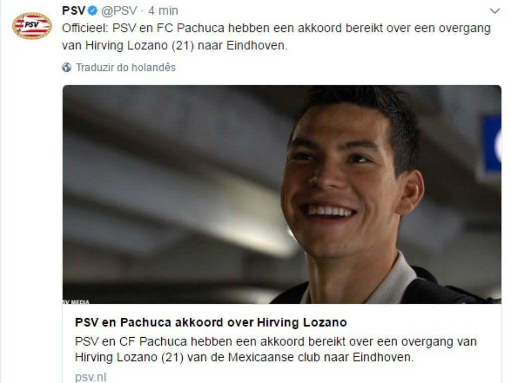 OFICIAL: PSV contrata o mexicano Hirving Lozano