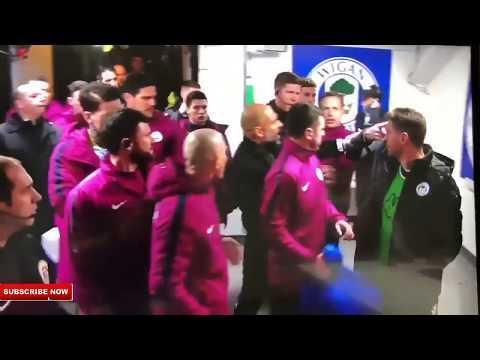 VÍDEO: Guardiola desentende-se com técnico do Wigan no túnel