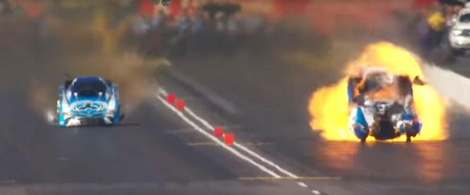 Se um dragster explodir em pista, é isto que (felizmente) pode acontecer