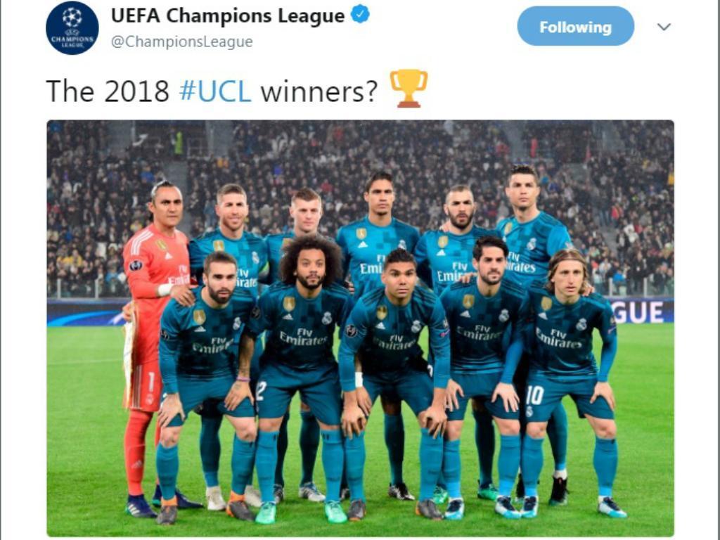 «Campeões de 2018?», o tweet da UEFA que está a gerar polémica