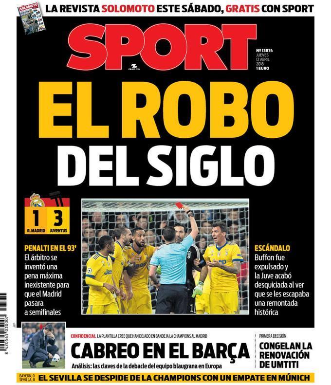 Jornal catalão antecipa capa: «O roubo do século»