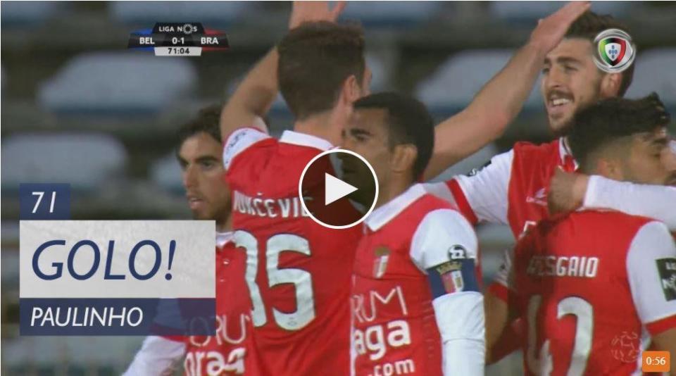 VÍDEO: o golo de Paulinho que deu o triunfo ao Sp. Braga no Restelo