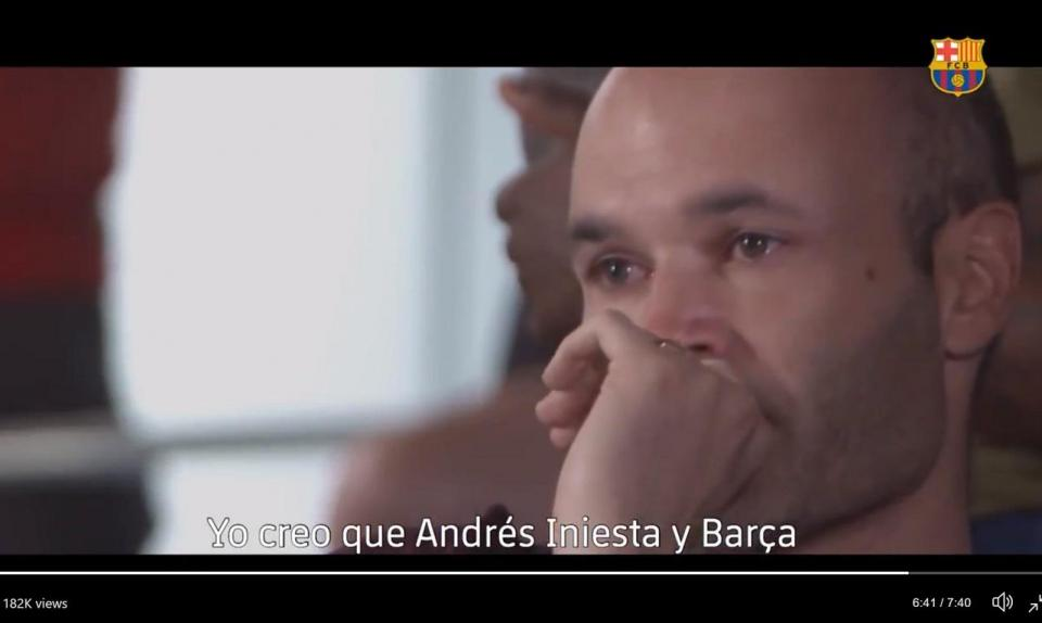 VÍDEO: o adeus emotivo de Iniesta ao balneário do Barcelona