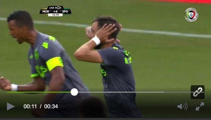 VÍDEO: passividade da defesa do Moreirense e Bruno Fernandes empata