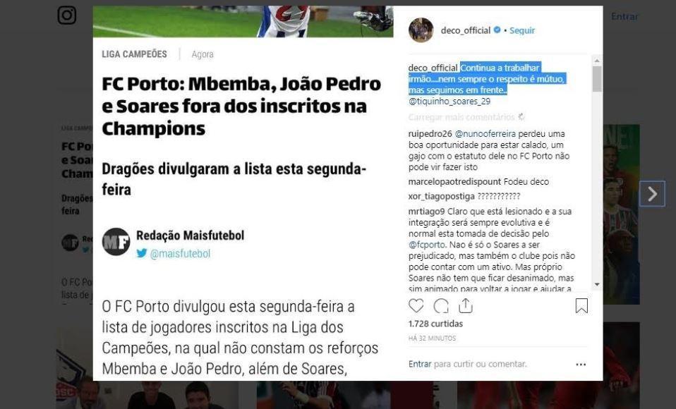 FC Porto não inscreve Soares e Deco diz: «Nem sempre respeito é mútuo»