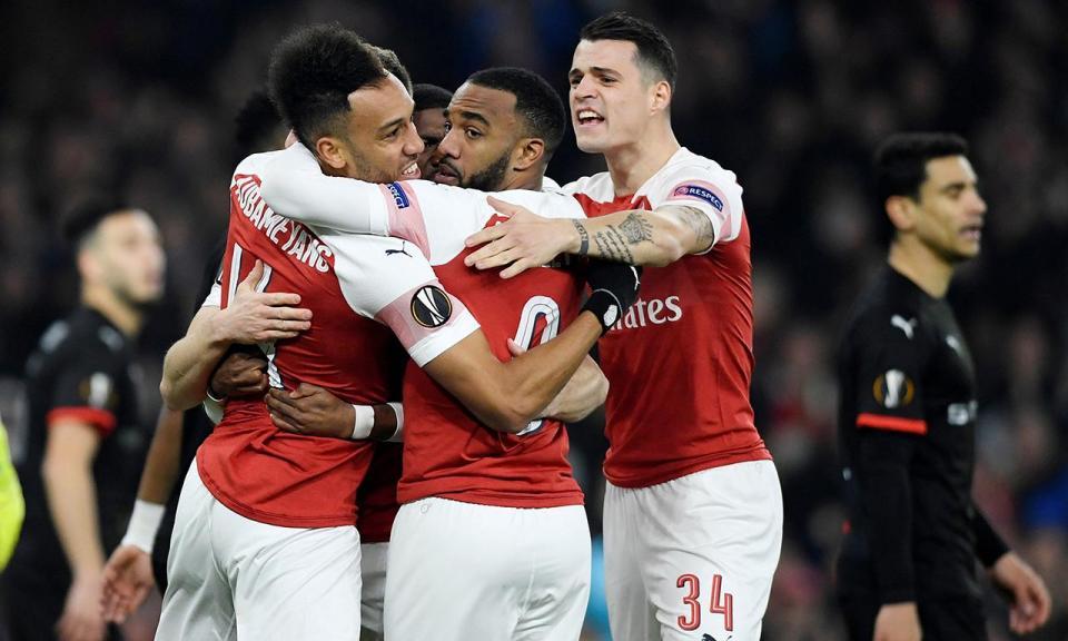 Liga Europa: Aubameyang nos três golos dá reviravolta épica ao Arsenal