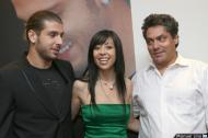 Fátima Lopes  Miguel Veloso e Paulo Barbosa na apresentação da Face Sports (foto: Manuel Lino)